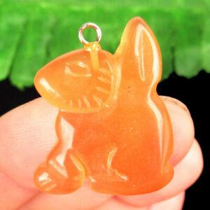 Carved Orange Cat Eye Rabbit Pendant Bead 27x2x25mm F87705