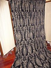 WELCOME INDUSTRIAL MEDALLION BLACK GOLD (3) CHENILLE CURTAIN PANELS 52 X 95