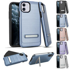 """for Apple iPhone 11 6.1"""" Brushed Carbon Texture Kickstand Hybrid Case Cover+Tool"""