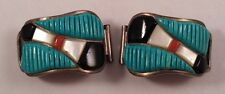 McKenzie Southwestern Turquoise Onyx Coral MOP Sterling Silver Watch Band