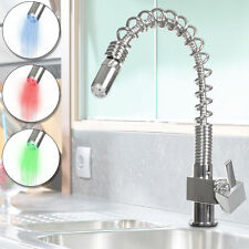 LED RGB Pull Out Spray Kitchen Sink Faucet Vessel Hot&Cold Mixer Tap Bathroom