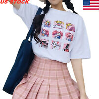 T-Shirt Women Harajuku Lovely Sailor Moon Kawaii Japanese Half-Sleeve Tee Sh #mi