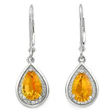 CITRINE & WHITE DIAMOND EARRINGS SILVER.2.28 CWT! SUPERB BRIDAL WEAR WHITE NOVEM