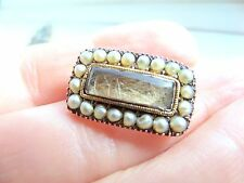 Seed Pearl Mourning Brooch Antique Georgian 15ct Gold and