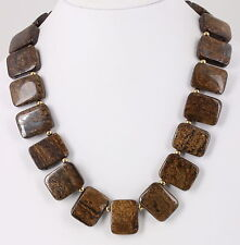COSTUME CHUNKY HEAVY BROWN STONES NECKLACE FASHION 7636B