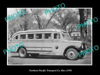 OLD LARGE HISTORIC PHOTO OF THE NORTHERN PACIFIC TRANSPORT Co BUS c1950 2