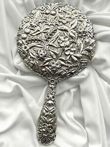 1890-96 Antique S KIRK & SON 11 OZ Coin Sterling Silver Repousse Hand Mirror EC