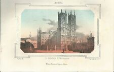 1863 CATTEDRALE DI WESTMINSTER litografia Pagnoni Westminster Abbey London