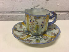 Antique Japanese Porcelain Cup & Saucer Geisha & Enamel Decoration AA Valentines