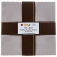 "Kona Ash Solids Ten Squares (42) 10"" Squares Layer Cake Cotton Quilt Fabric"