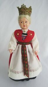 "Vintage Ronnaug Petterssen Norway Bunad 10"" Celluloid Girl Norwegian Bride Doll"