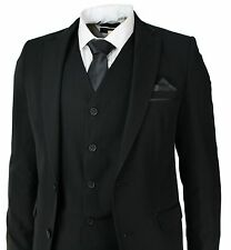 Men's Slim Fit Suit Black 3 Piece Work Office or Wedding Party Suit
