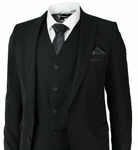 Men's Slim Fit Suit Black 3 Piece Work Office or Wedding Party Suits