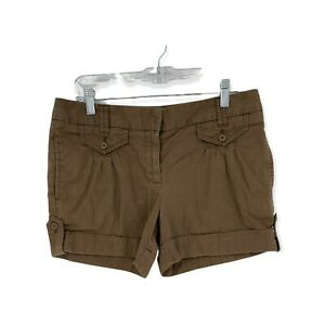 Ann Taylor Loft Womens Cotton Mid Rise Cuffed Chino Shorts Size 6 Brown
