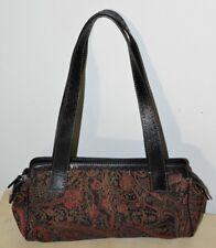 EUC Fossil Handbag ZB9137 Leather Jacquard Fabric Black Brown Burgundy Red
