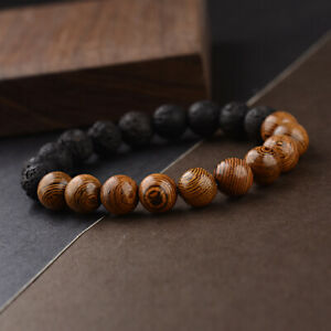 Men Women 10MM Wood Onyx Agate Healing Balance Lucky Bracelets Jewelry Gift