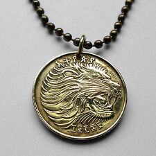 Ethiopia 10 Santeem cent coin pendant African Lion of Judah Rastafari n000789