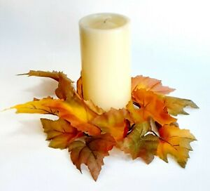 """(X 2 PCS) Autumn Leaf 10"""" Candle Ring 4"""" Opening Orange Fall Flower Home US #03"""