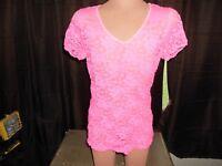 Bobbie Brooks Women's Lace Pink Short Sleeve Blouse Size 1X      T1