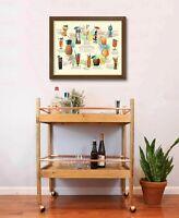 Vintage Mid Century Modern Tiki Bar Drink Menu Print
