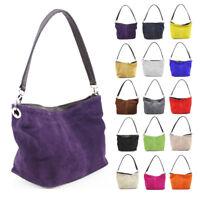 New Womens Italy Real Suede Leather Zip Tote Handbag Hobo Shopper Shoulder Bag