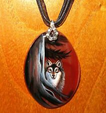 Genuine Russian hand painted Natural Stone pendant GREY WOLF TOTEM ANIMAL GIFT