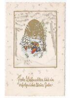 1961 Tarjeta Postal Vintage Ángeles Regalos Navidad Ardilla Paisaje Weihnachten