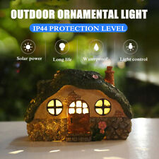 Solar Powered Decor Fairy House Statue LED Lawn Yard Light Outdoor Garden Decor
