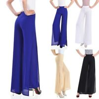 Wide Leg Women Chiffon Trousers High Waist Pants Long Loose Culottes Pop
