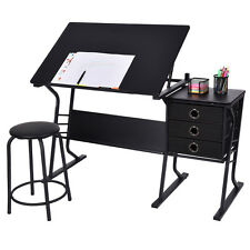 Drafting Table Adjustable Drawing Desk Art Craft Hobby w/ Stool & Drawers Black