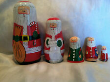 Santa Claus Nesting dolls babushka dolls old vintage wooden Set of 5
