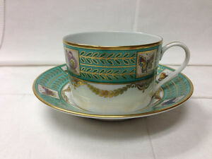 """FABERGE HAND PAINTED """"PAPILLONS RUSSES"""" TEACUP & SAUCER LIMOGES FRANCE"""