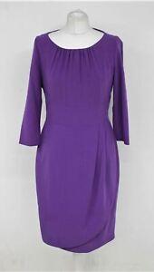 L.K.BENNETT Ladies Purple Boat Neckline Knee Length 3/4 Sleeve Dress UK12