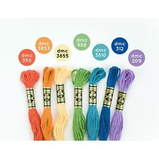 New Dmc Floss Colorful Rainbow 7 Skeins - Free Shipping!