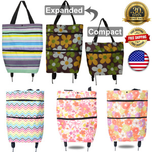 Portable folding wheel handle Carry shopping bag rolling grocery cart tote trip
