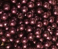 250 X 6mm Plum Acrylic Pearl Beads Purple Berry Burgundy