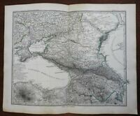 Russian Caucasus Georgia Azerbaijan Armenia Mt. Ararat 1884 Petermann map
