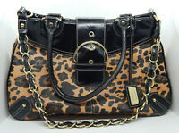 "Merona Collection Ladies Handbag. Leopard Print Shoulder/Elbow Straps 10""x15""x4"""