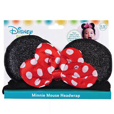 Minnie Mouse Soft Elastic Headband Ages 0-12 Months Red w/ White Polka Dots