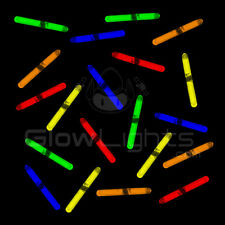 "(50) 1.5"" MINI GLOW STICKS - 5 ASST COLORS - FISHING GLO LIGHT - KIDS DJ PARTY"