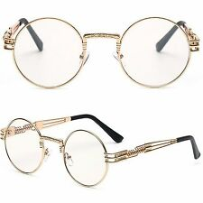 Unisex Round Flat Lens Quality Steampunk Gold Metal Goggles Clear Lens Glasses