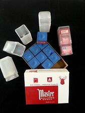 Combo - (12) Pack Blue Master Chalk & (4) Empty Chalk Holder Cases Pool Cue