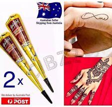 2x Henna Tattoo Cone Paste Tube 100% Herbal Body Art Painting Fun Lasting BLACK
