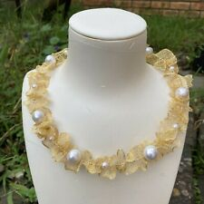 Unique style 11.5-13.5mm Natural White Kasumi Baroque pearl Necklace AAA+ 14KGF