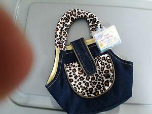Adorable Webkinz Purse or Pet Carrier Leopard Print and Denim Unused Code Bag