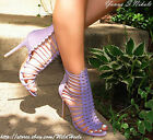 Lilac / Light Purple Strappy Perforated Front Open Toe Gladiator Bootie Heels