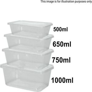 Clear Plastic Containers Tubs With Lids Microwave Food Safe 500 650 750 1000ml