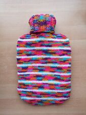 Handmade Knitted Multi Coloured And White Striped Hot Water Bottle Cover