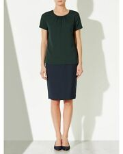 John Lewis Pleat Neckline Blouse Top - Green - RRP £39 - UK Size 14 - BNWT