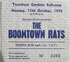 BOOMTOWN RATS 1979 Concert TICKET Trentham Gardens Stoke On Trent Oct. 15th